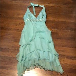 Stunning Laundry By Shelli Segal Teal Silk dress